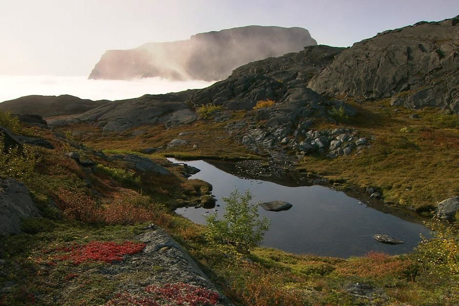 Sweden: High elevation landscape shot with low cloud cover in the background surrounding cliffs. ... [Dagens billede - maj 2012]