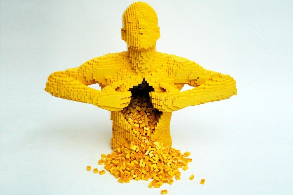 New York City, New York, United States: Lego sculpture of yellow man with his innards gushing fro... [Dagens billede - juni 2012]