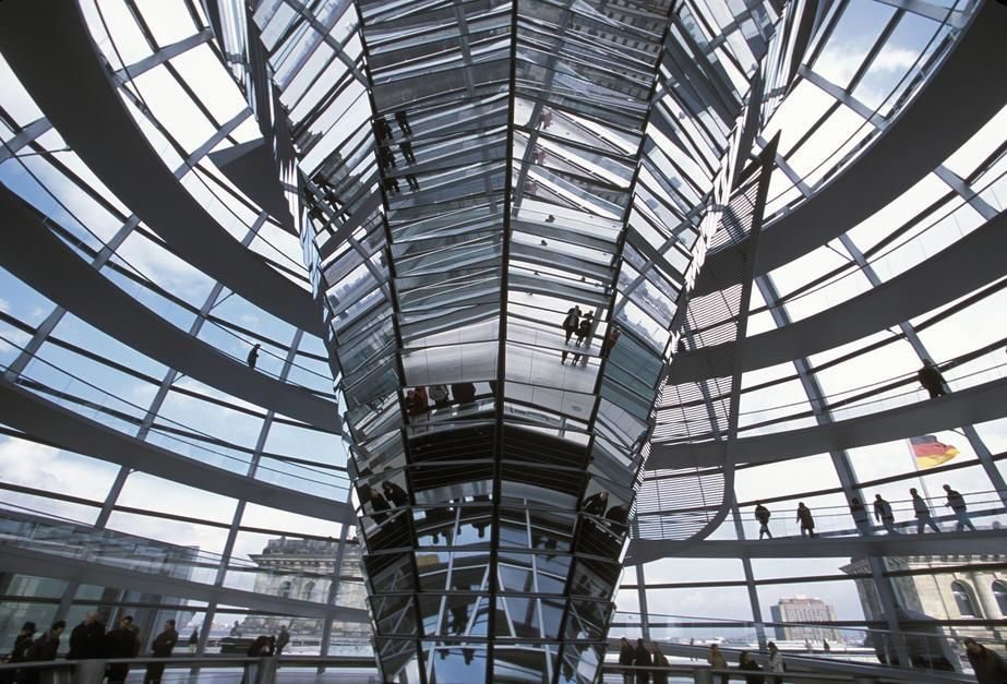 The modern interior addition of the history Reichstag Building, Berlin. Germany. [Dagens foto - september 2011]