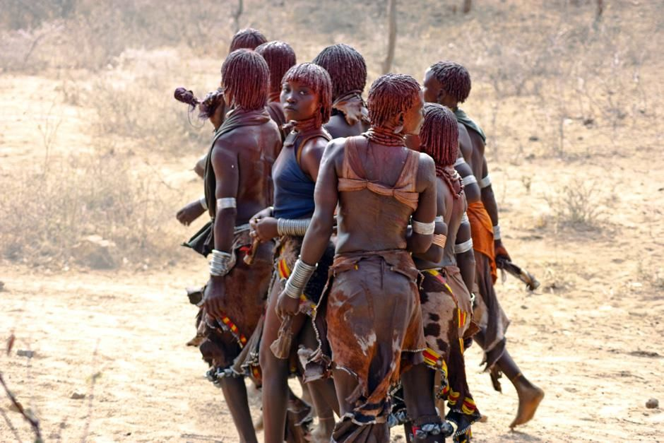Omo River Valley, Ethiopia: Women of the Hamer tribe perform a dance. The tribe is largely pastor... [Dagens foto - september 2012]