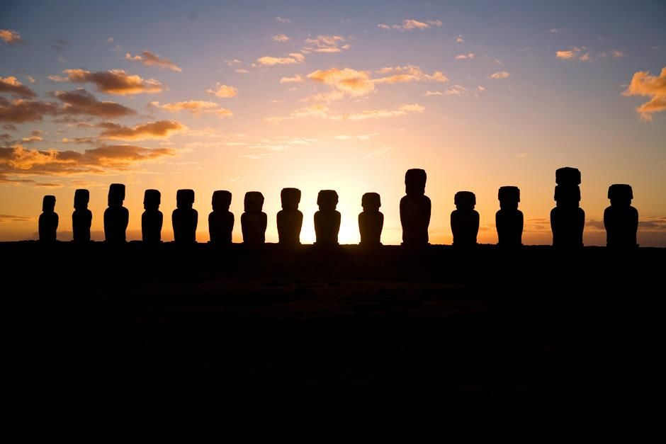 Easter island statues at sunset. This image is from Departures. [Photo of the day - September 2012]