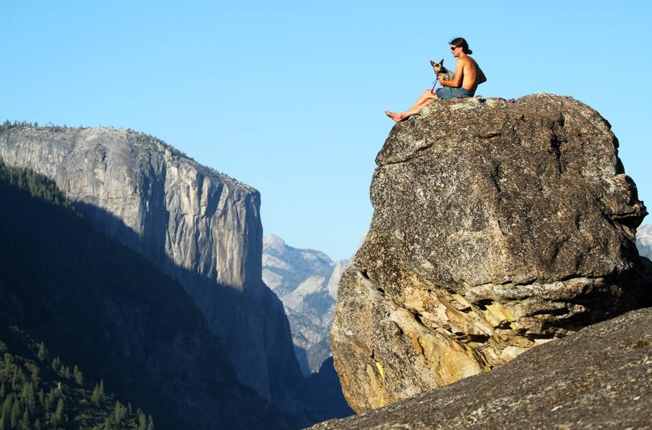 Whisper and Dean Potter take in the view at Turtle Back Dome in Yosemite National Park. This imag... [Photo of the day - January 2013]