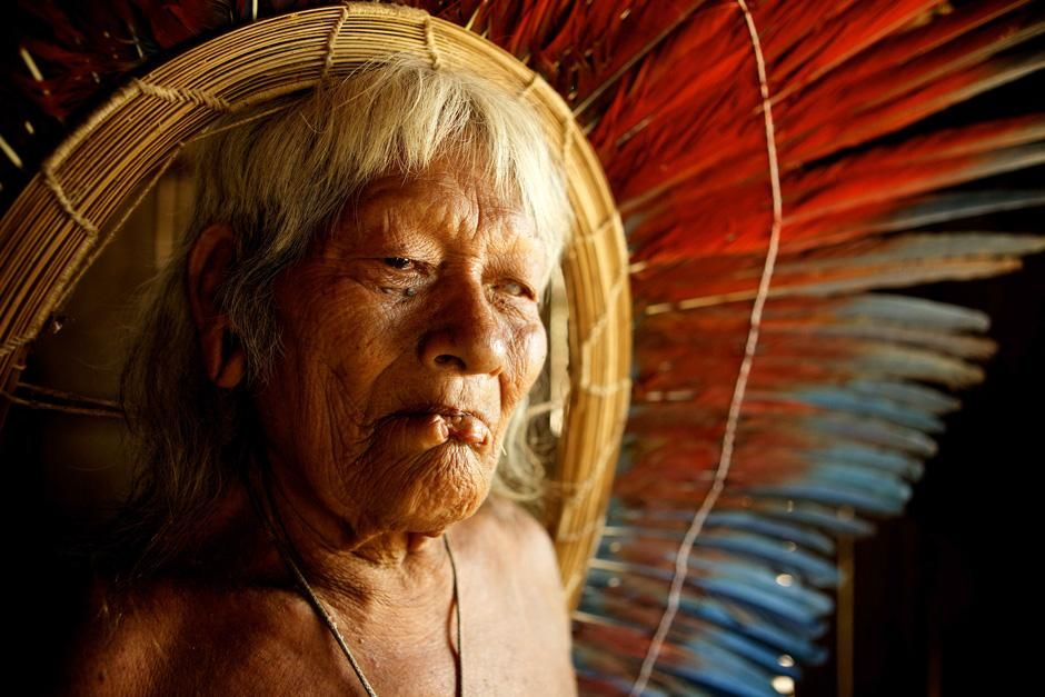 Xingu River, Brazil: Indigenous man in a feather headress. This image is from MegaPiranha. [Photo of the day - February 2013]