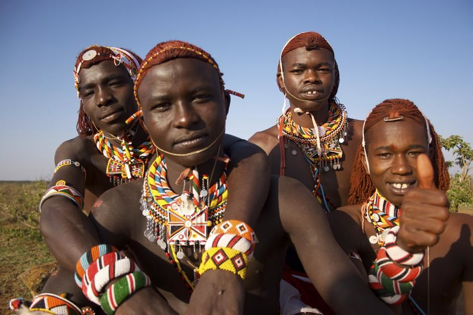Four young Maasai warriors in Kenya. This image is from Warrior Road Trip. [Foto del día - marzo 2013]