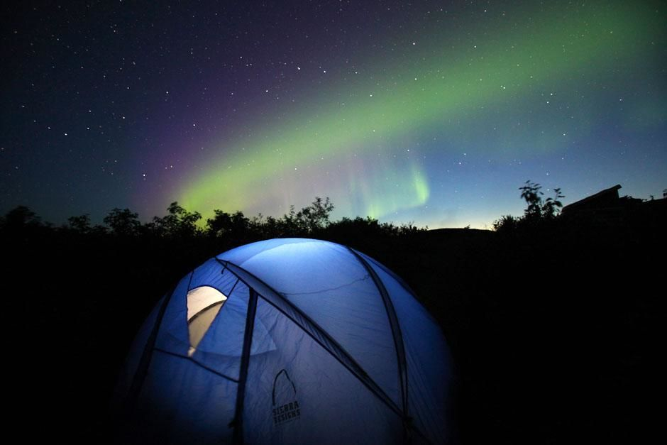 Denali National Park, Alaska, USA: Chris Morgan camping in Denali National Park with the Northern... [عکس روز - می 2013]