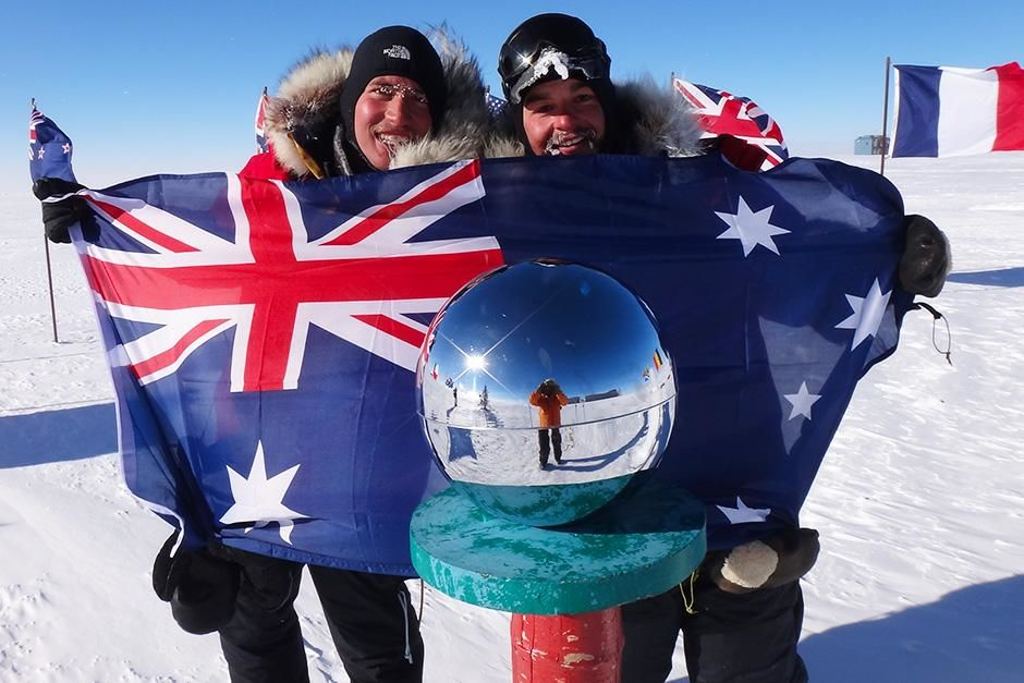 Antarctica: The South Pole! After 1135km and 62 days, Cas (James Castrission, right) and Jonesy... [Photo of the day - September 2013]
