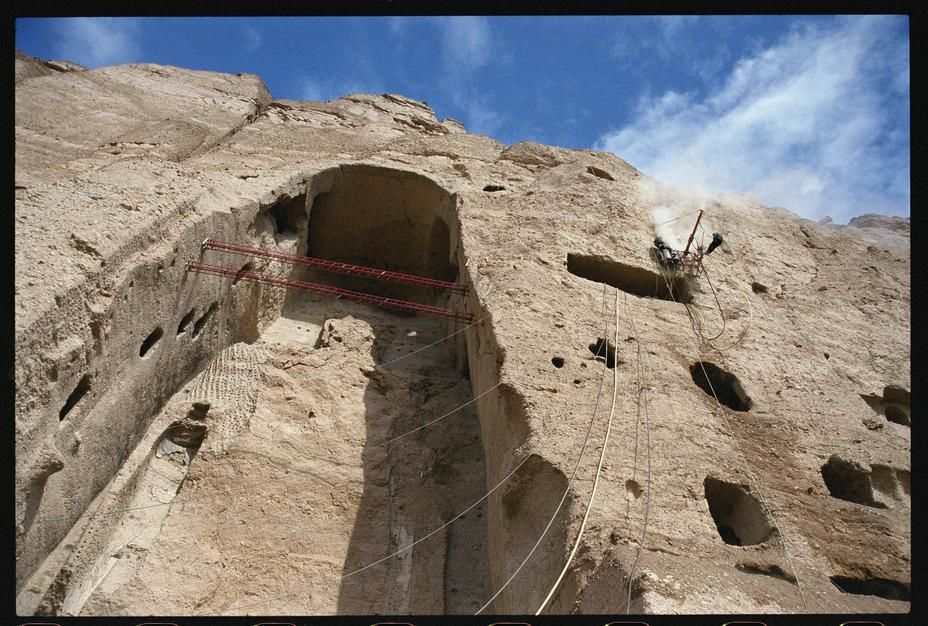 Remnants of a giant Buddha statue blown out of the Bamian cliff face. Afghanistan. [Photo of the day - December, 2011]