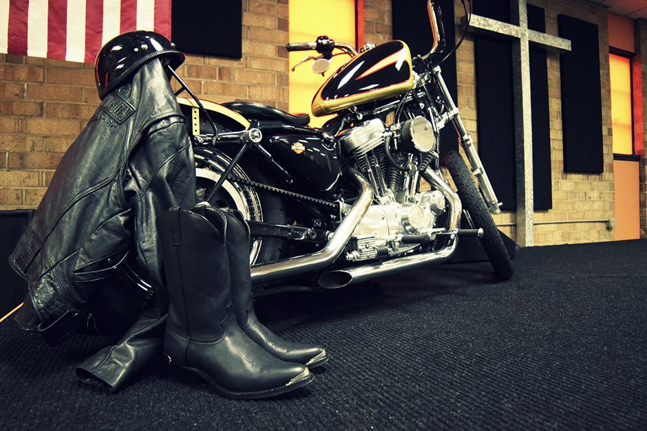 Conover, North Carolina, USA: A motorcycle is displayed on a new stage at Freedom Biker Church. T... [Photo of the day - December, 2013]