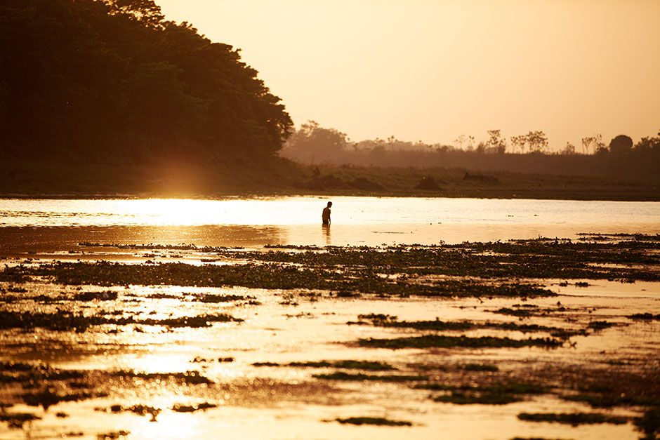 Chitwan National Park, Nepal: A Nepali man fishes in the Rapti River on the edge of Chitwan Natio... [Photo of the day - January, 2014]