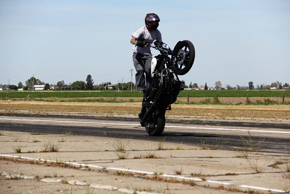 Kingdon Airport, Lodi, California, USA: Nick Leonetti performing a stand-up wheelie. This image... [Photo of the day - January 2014]