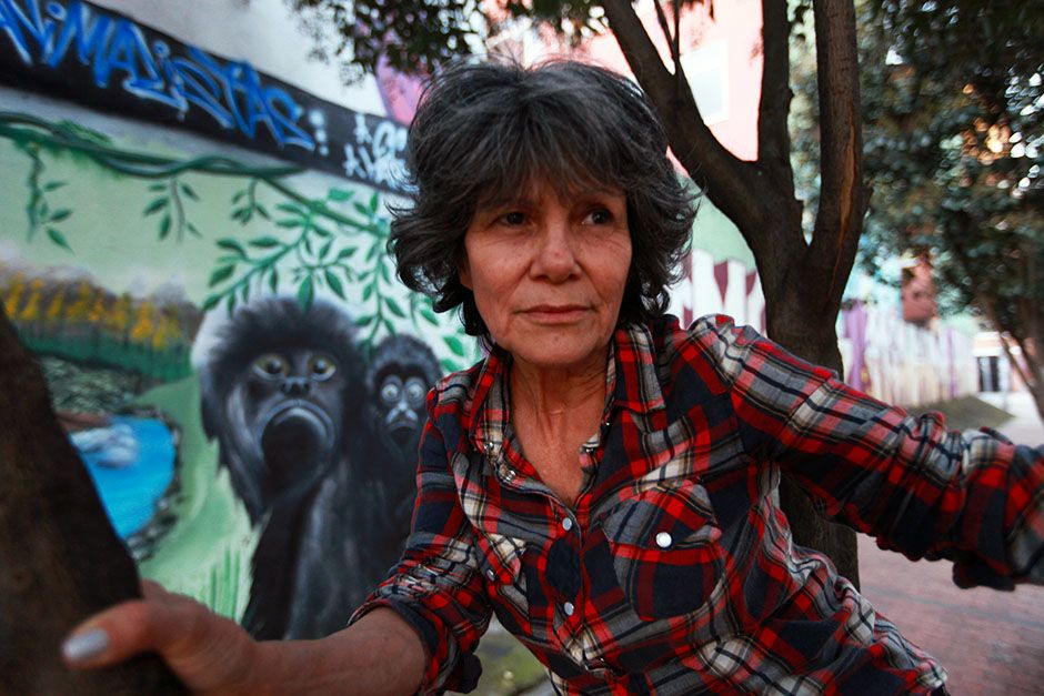 Bogota, Colombia: Marina Chapman close up in a tree in front of a mural. This image is from Woman... [Photo of the day - mars 2014]