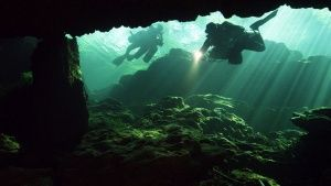 Bayonet Point, Florida, USA: Two divers exploring an underwater cave. This image is from Sinkhole... Photo of the day - 12 מרץ 2014