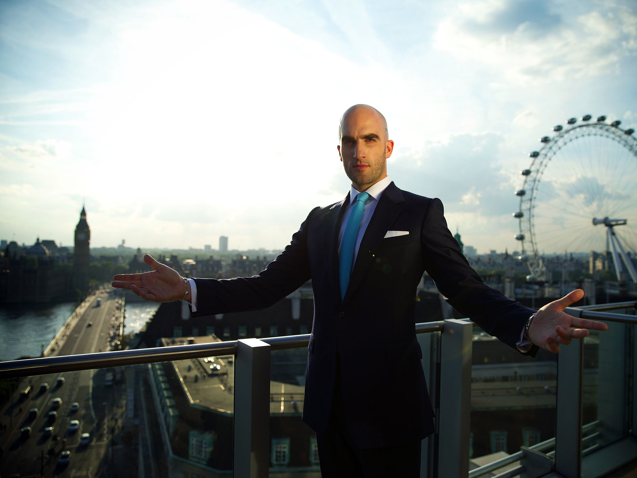 London, UK: Drummond Money-Coutts standing on a balcony at Park Plaza Westminster Bridge... [Photo of the day - نوامبر 2014]