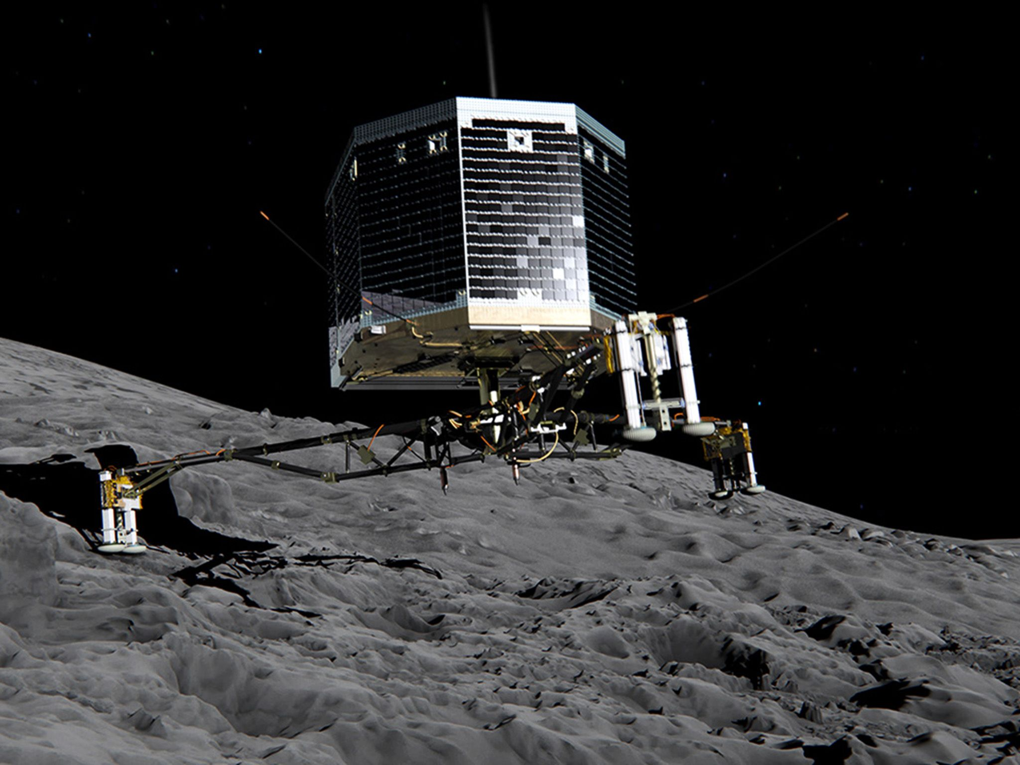 Still image from animation of Philae separating from Rosetta and descending to the surface ... [Photo of the day - دسامبر 2014]