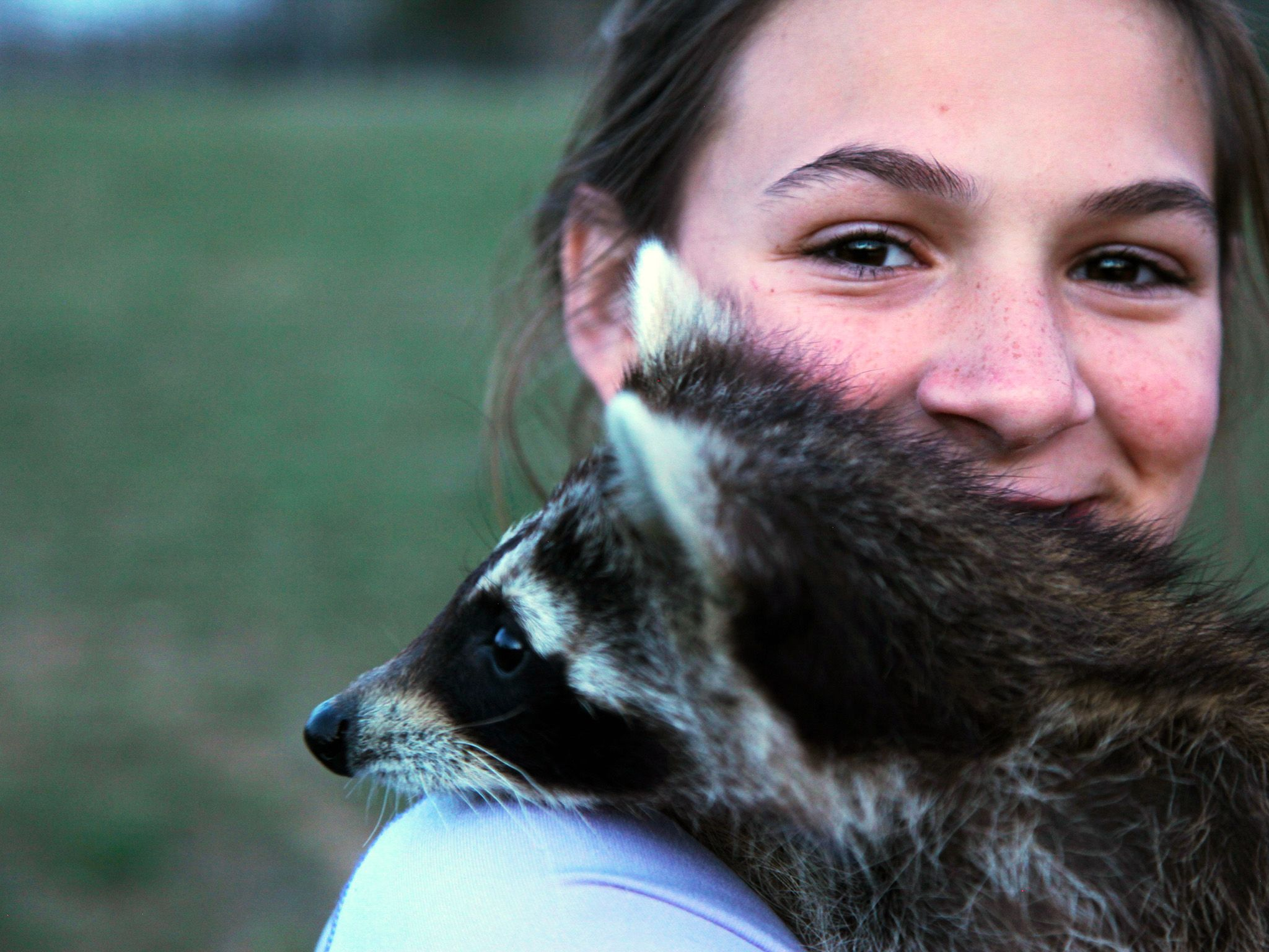 Greenville, Ky.: Sophia Allen, Kristen's daughter, says goodbye to the raccoons being released. ... [Photo of the day - 一月 2015]