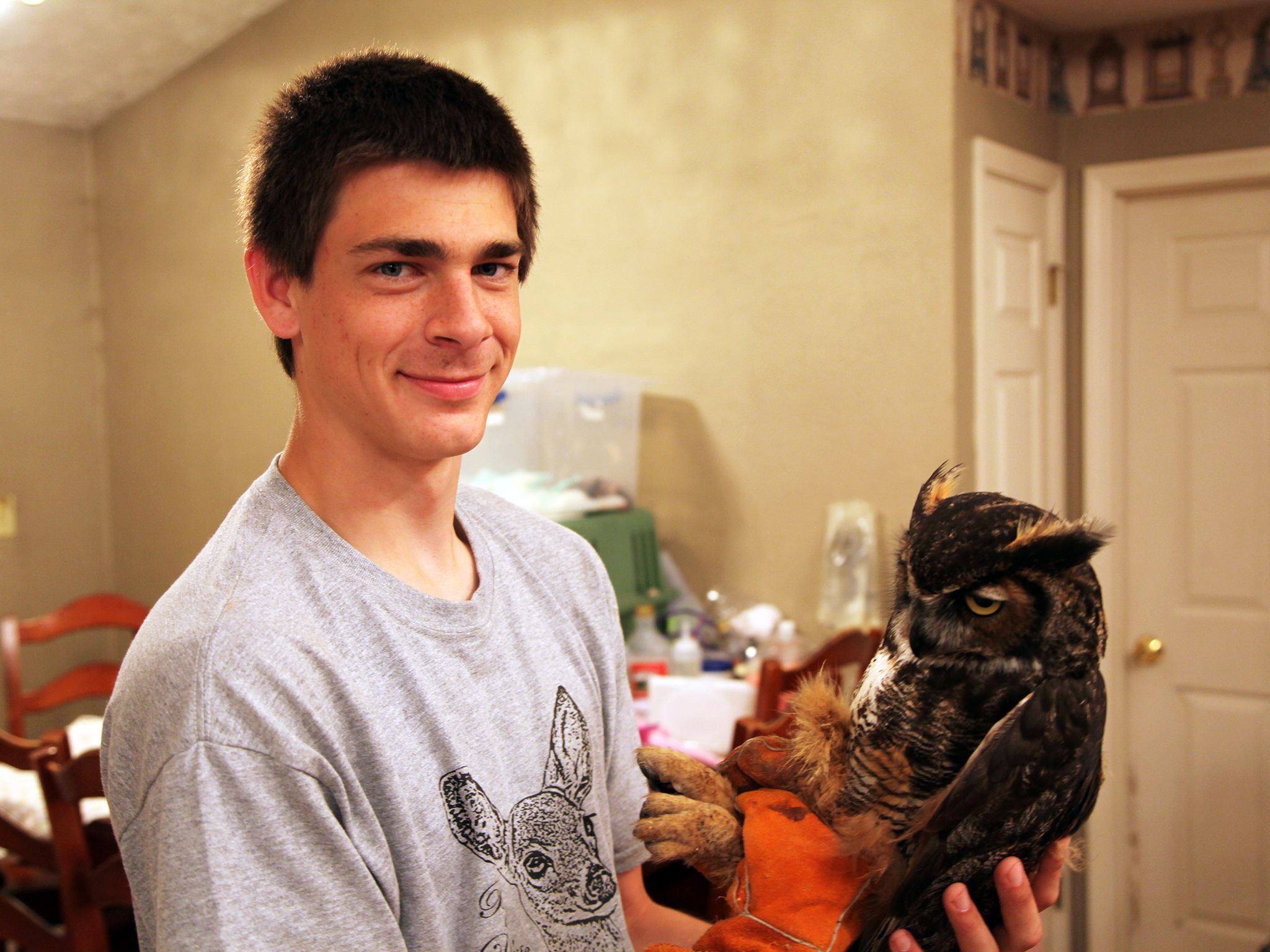 Greenville, Ky.: Grant Allen tends to an injured owl. This image is from Bandit Patrol. [Photo of the day - January 2015]
