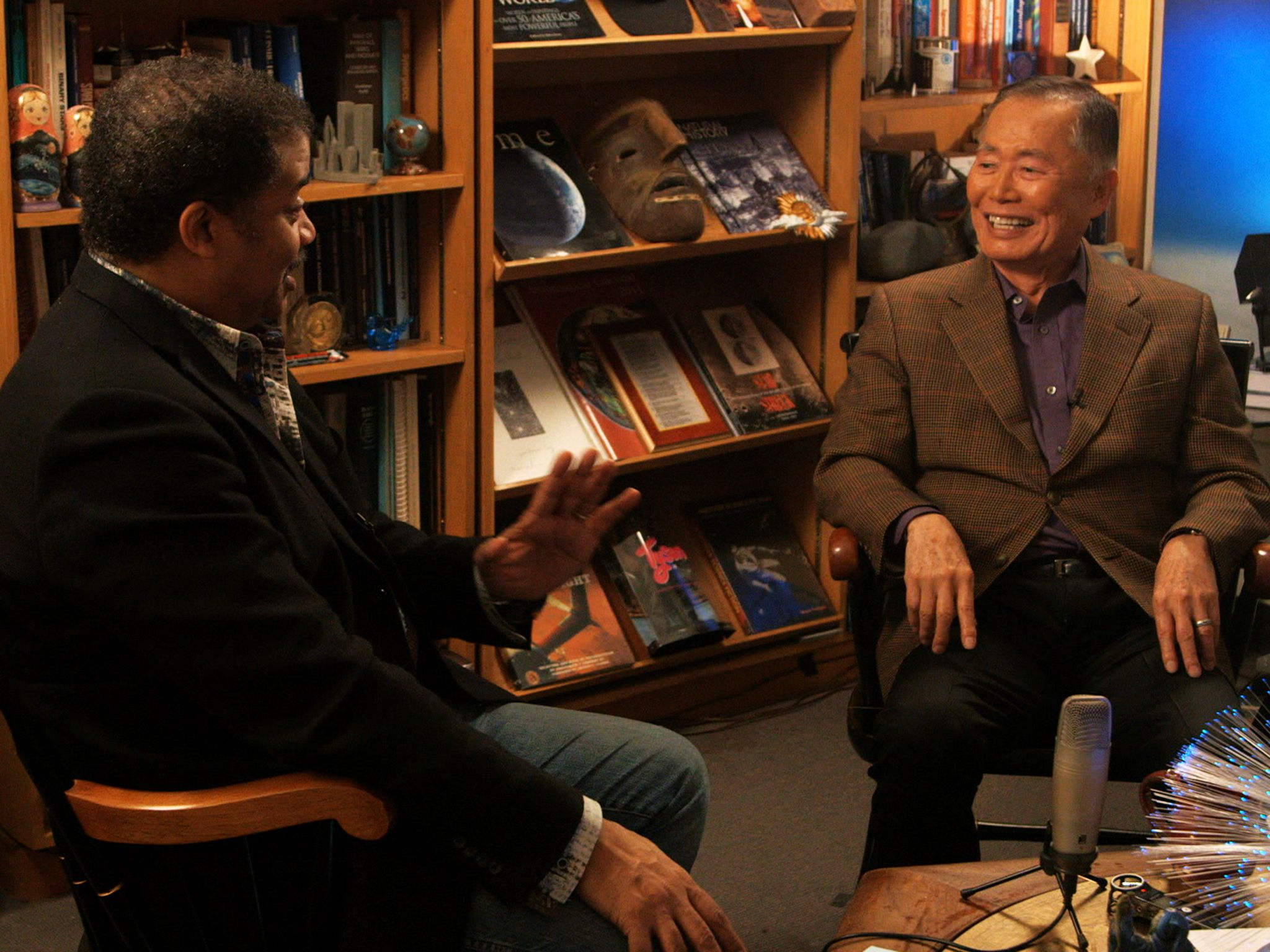 New York, N.Y.: Host Neil deGrasse Tyson interviews George Takei, widely known for his role as... [Photo of the day - April 2015]