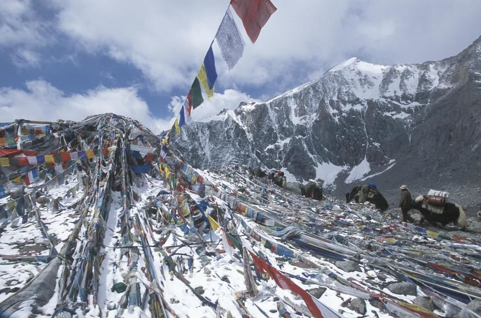 Pilgrims and Prayer flags at Domala Pass, Mount Kallas. [  -  2011]