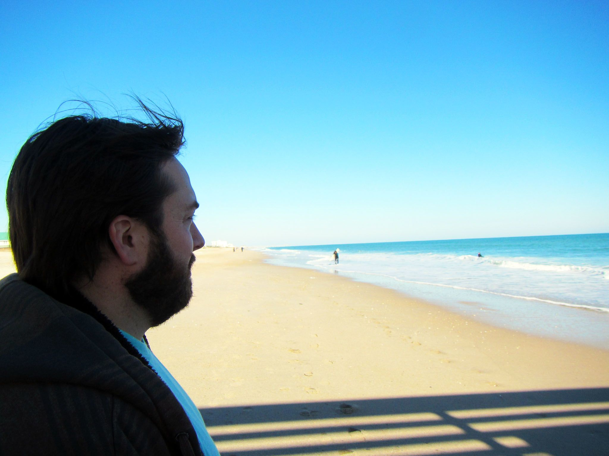 Topsail Beach, North Carolina: Patrick Bruff standing near the spot where he was attacked by a... [Photo of the day - August 2015]