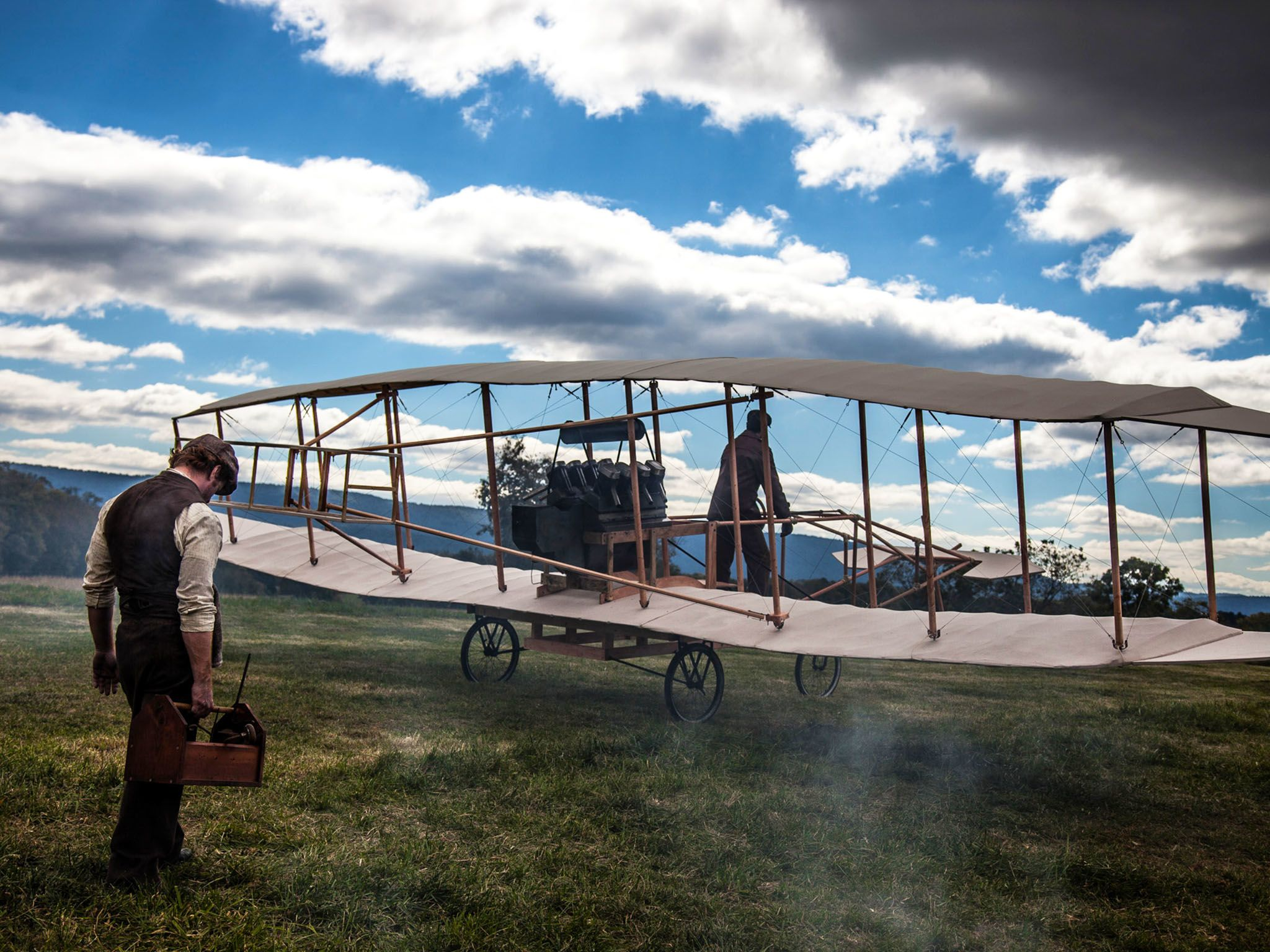 """Reenactment- Glenn Curtiss prepares to test fly his airplane, the """"June Bug"""" for the first time,... [Photo of the day - August 2015]"""