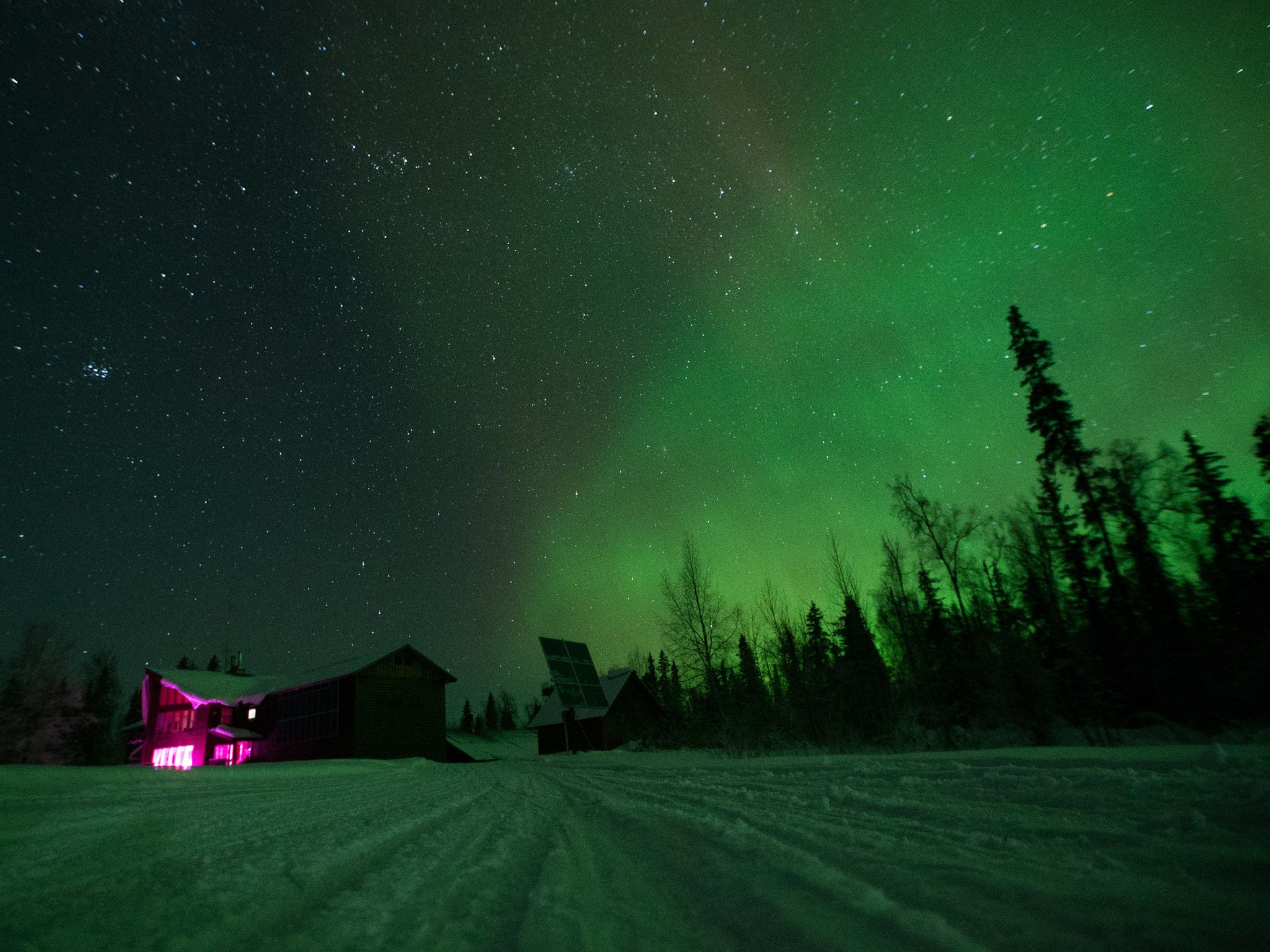 Skwentina, Alaska: The Northern Lights illuminate the night sky over Roger and Myra's Skwentna... [Photo of the day - July 2015]
