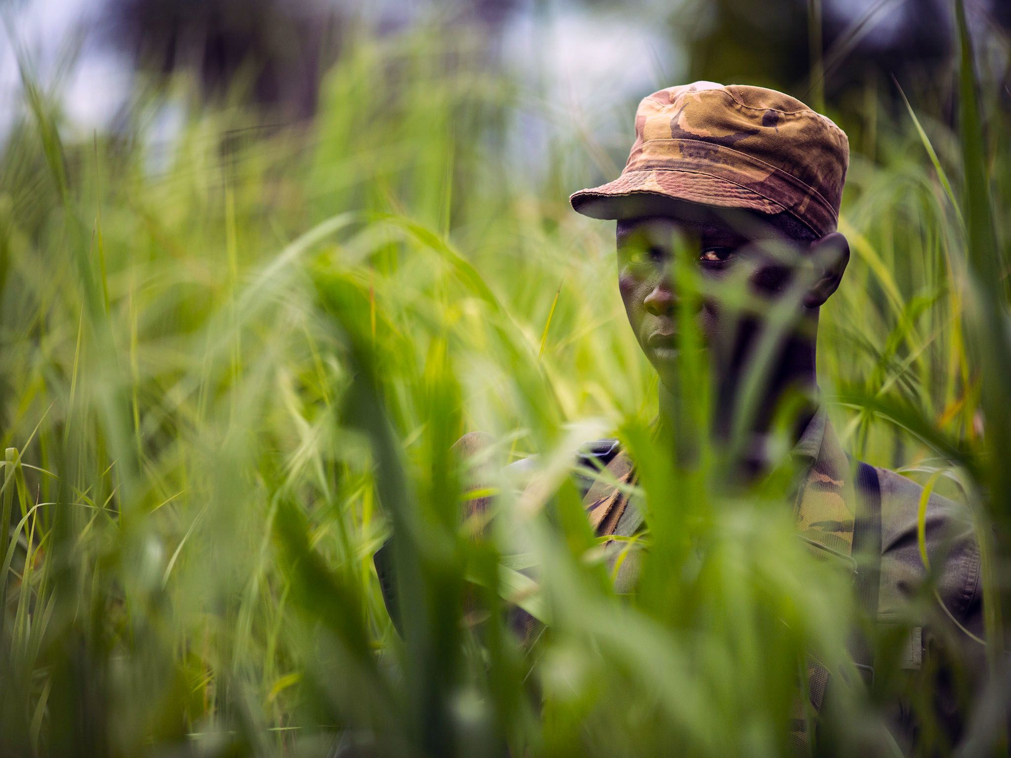 Garamba National Park, Democratic Republic Of Congo: A Garamba ranger looks through tall grass... [Photo of the day - سپتامبر 2015]