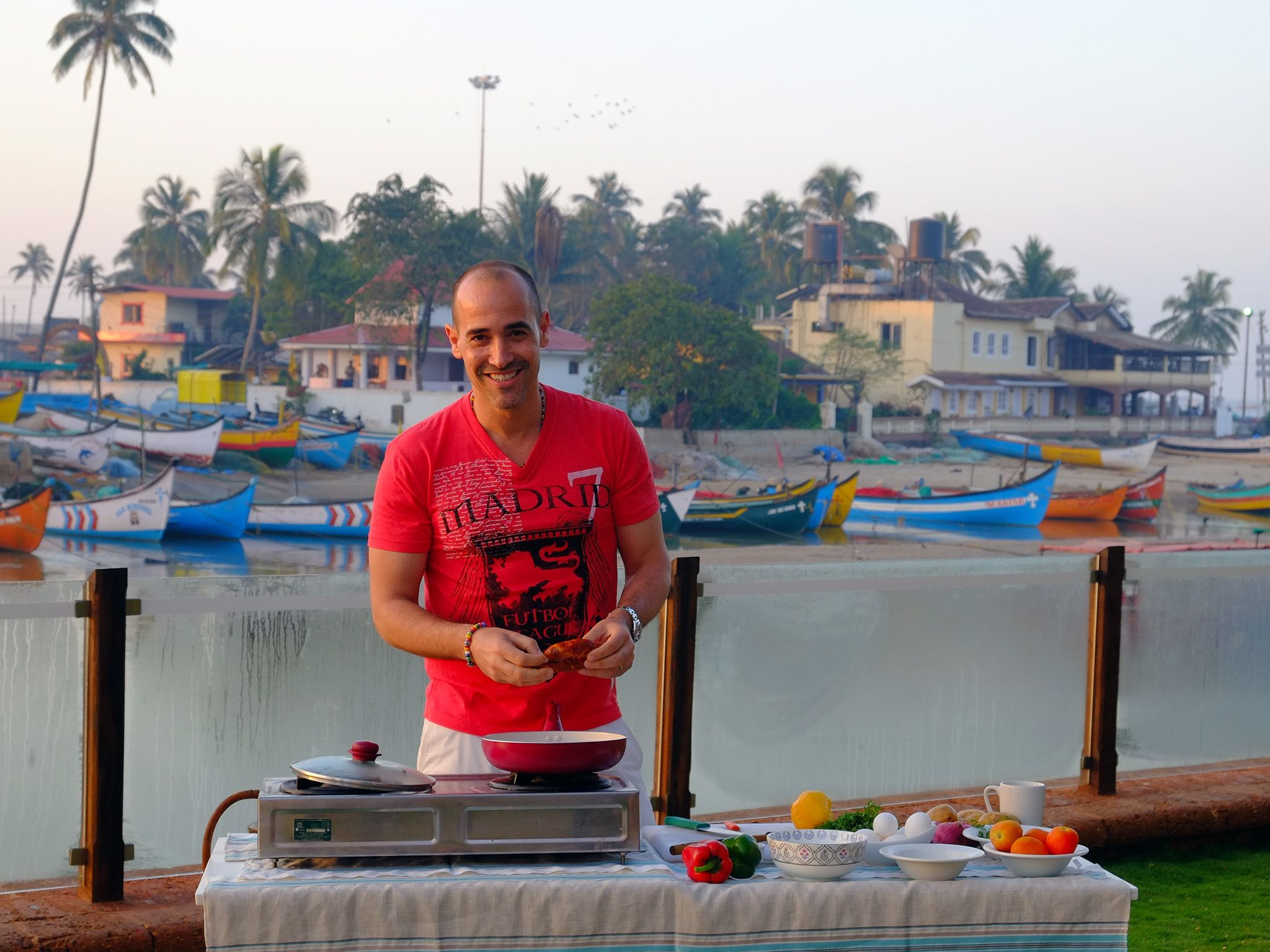 Panjim, Goa, India: David Rocco cooks a quick breakfast for some local fisherman using Goan... [Photo of the day - December 2015]