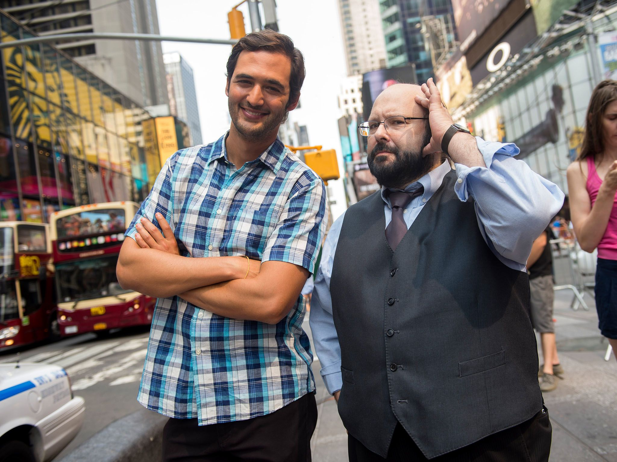 New York City, N.Y.: Jason Silva with Marc Salem in Times Square. This image is from Brain Games. [Photo of the day - فبراير 2016]