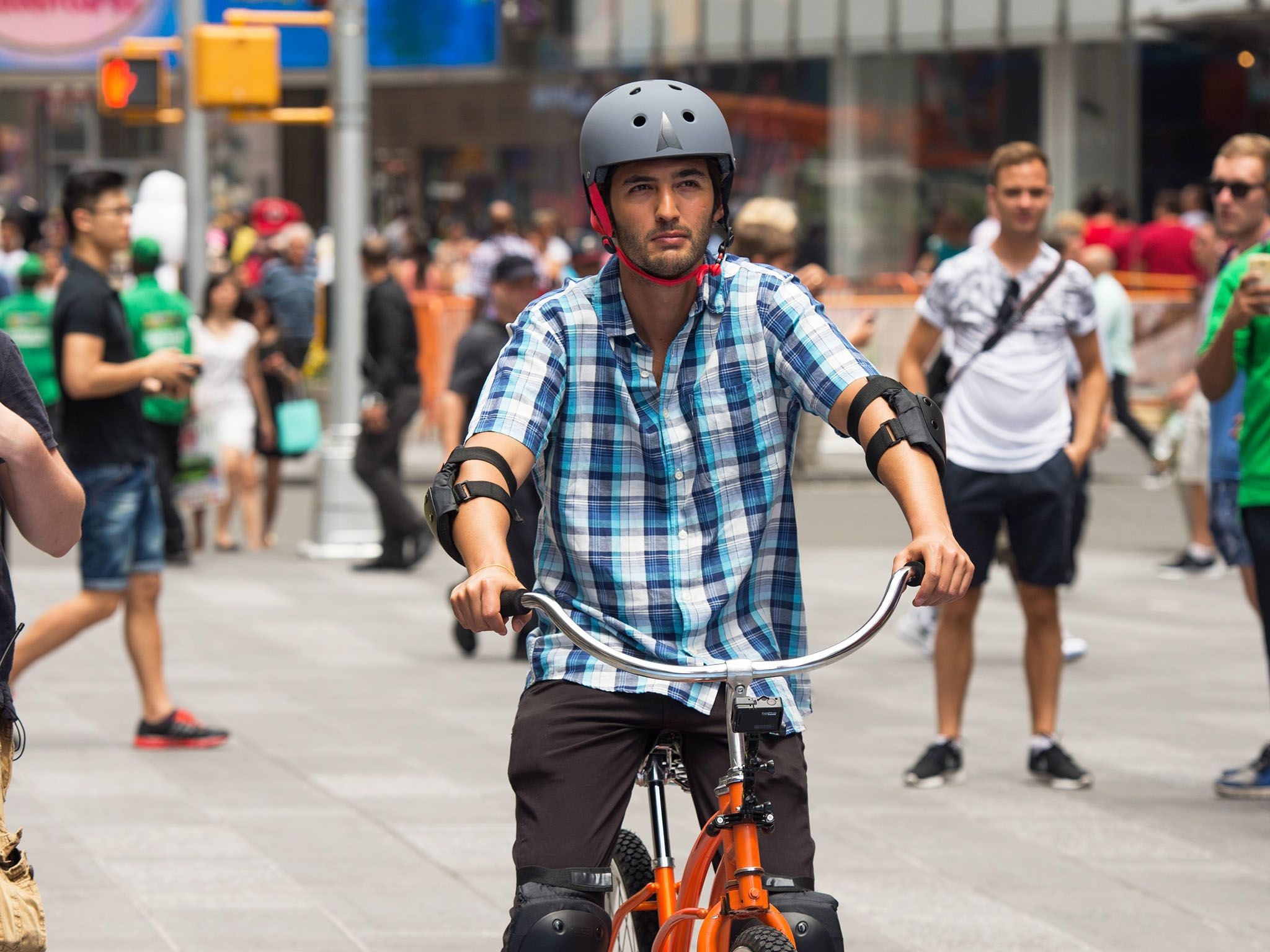 New York City, N.Y.: Jason Silva preparing to ride the Backwards Bike in front of a crowd in... [Photo of the day - February 2016]