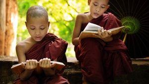 Jeunes moines du Myanmar lisant leur... [Photo du jour - 26 AVRIL 2016]