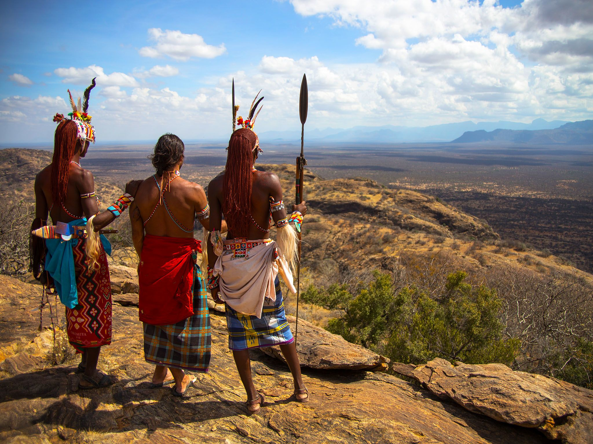 Kenya: Hazen standing with Samburu Warriors on a cliff. This image is from Hazen's Wild Survival... [Photo of the day - May 2016]