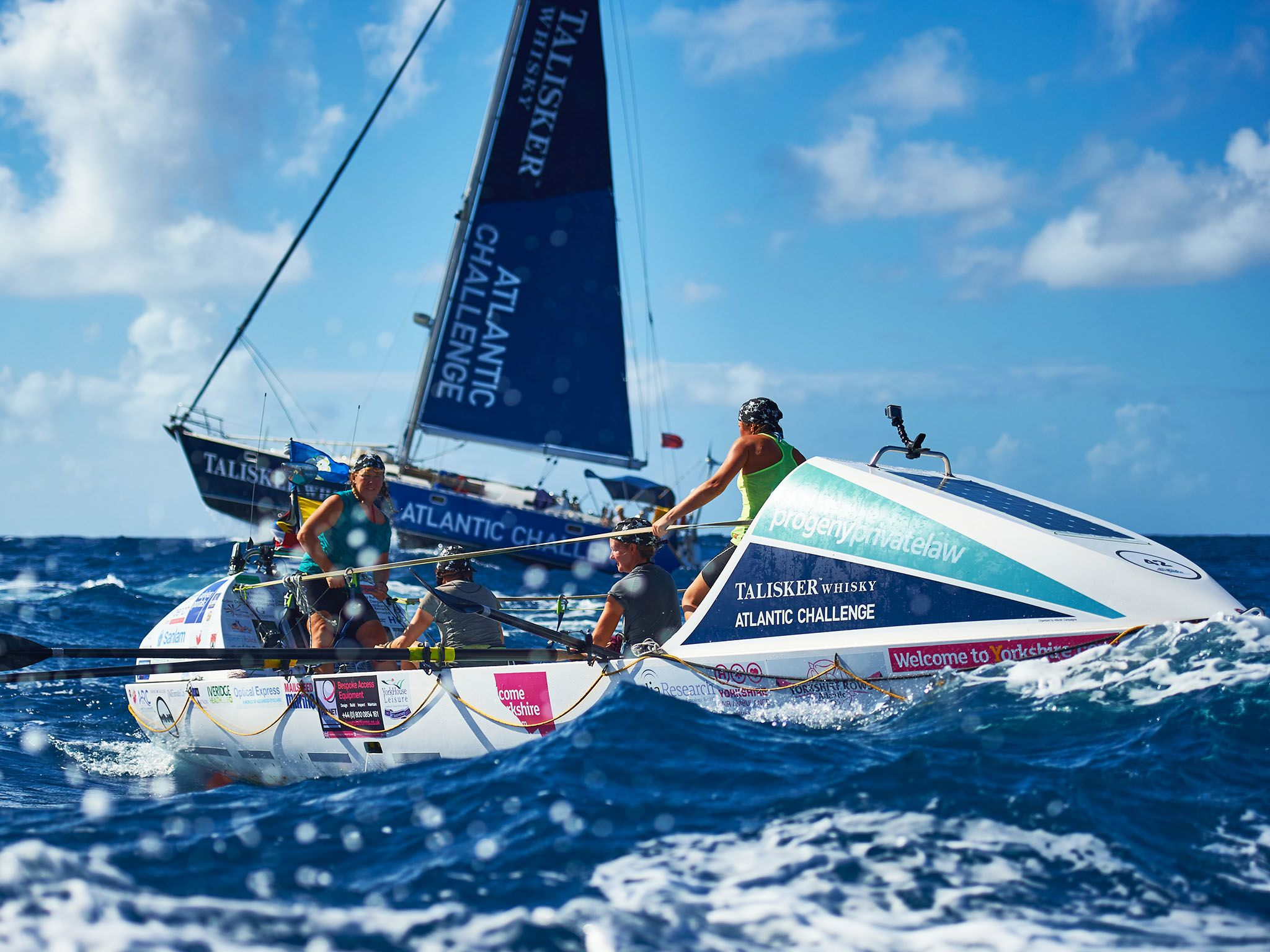 Antigua: Yorkshire Rows complete the Talisker Whisky Atlantic Challenge (LtoR) Janette Benaddi,... [Photo of the day - June 2016]
