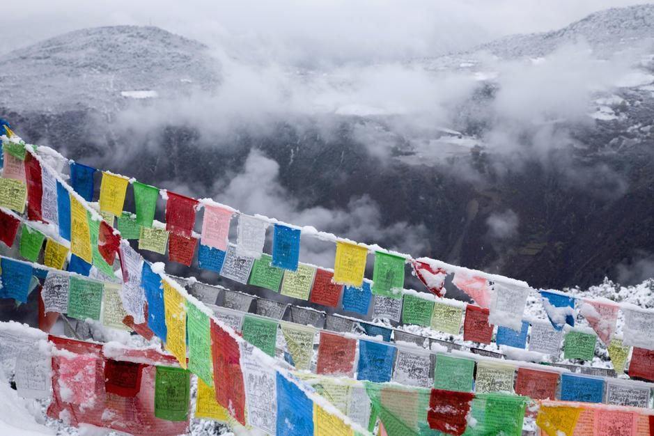 Buddhist prayer flags in fresh snow east of Degin. [Fotografija dneva - julij 2011]