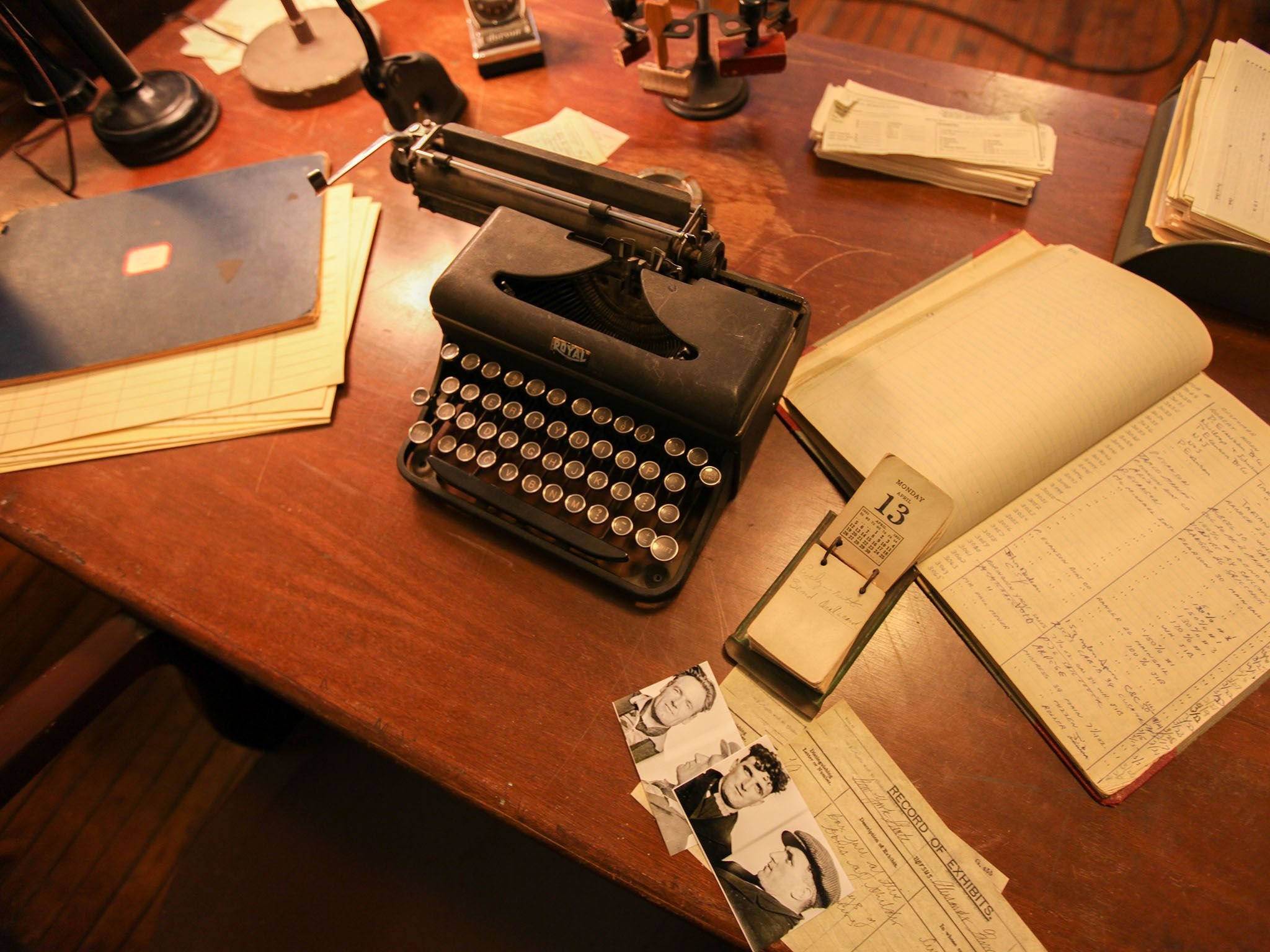 Reenactment: A typewriter and various documents on a desk inside police headquarters. This image... [Photo of the day - September 2016]