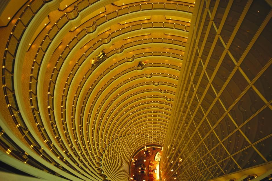 The Jin Mao Tower looking down from the Grand Hyatt Hotel in Shanghai. People's Republic of China. [Dagens foto - augusti 2011]