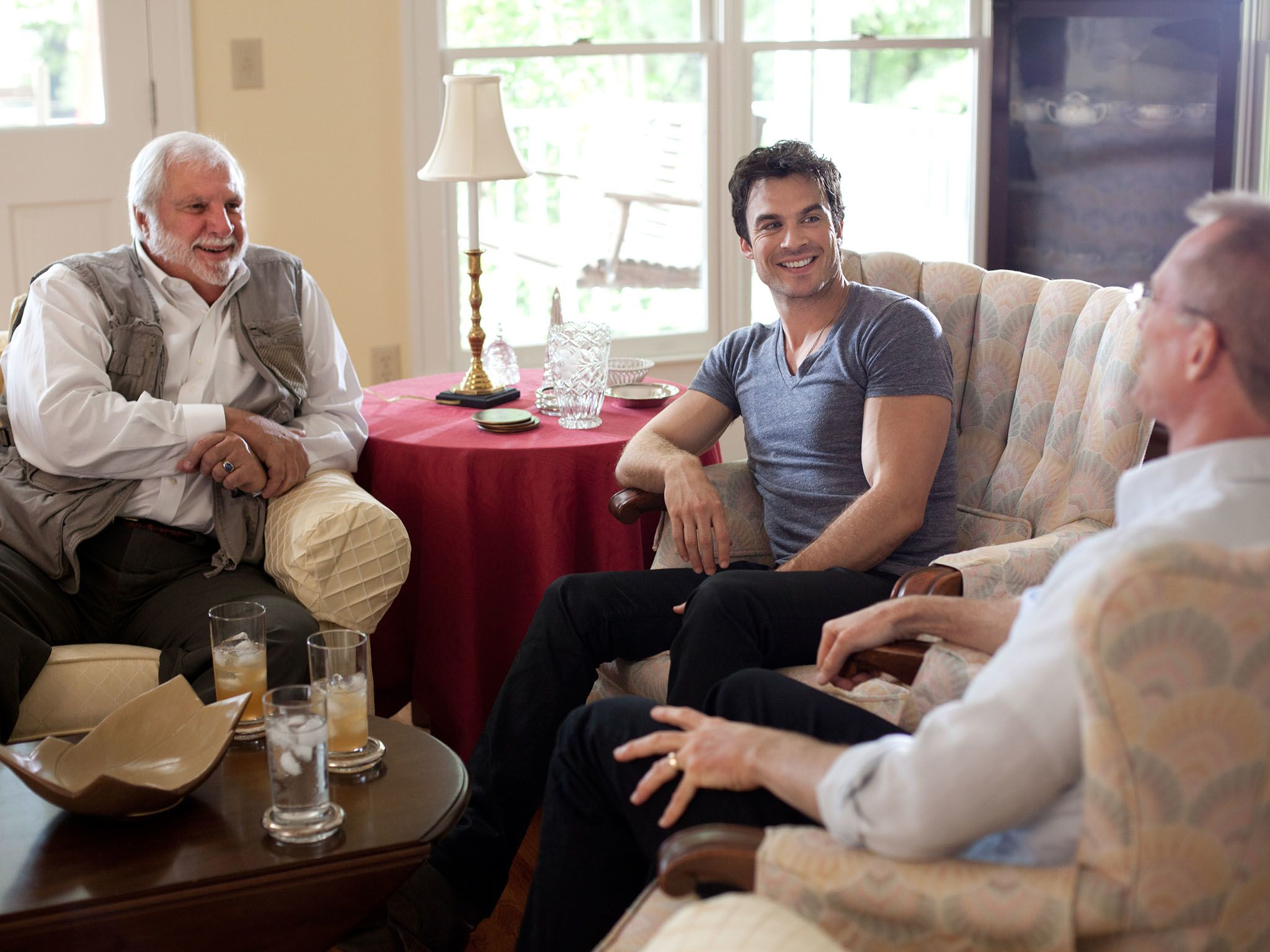 Correspondent Ian Somerhalder speaks with Pastor Rick Joyner (L) and former Congressman Bob... [Photo of the day - November 2016]