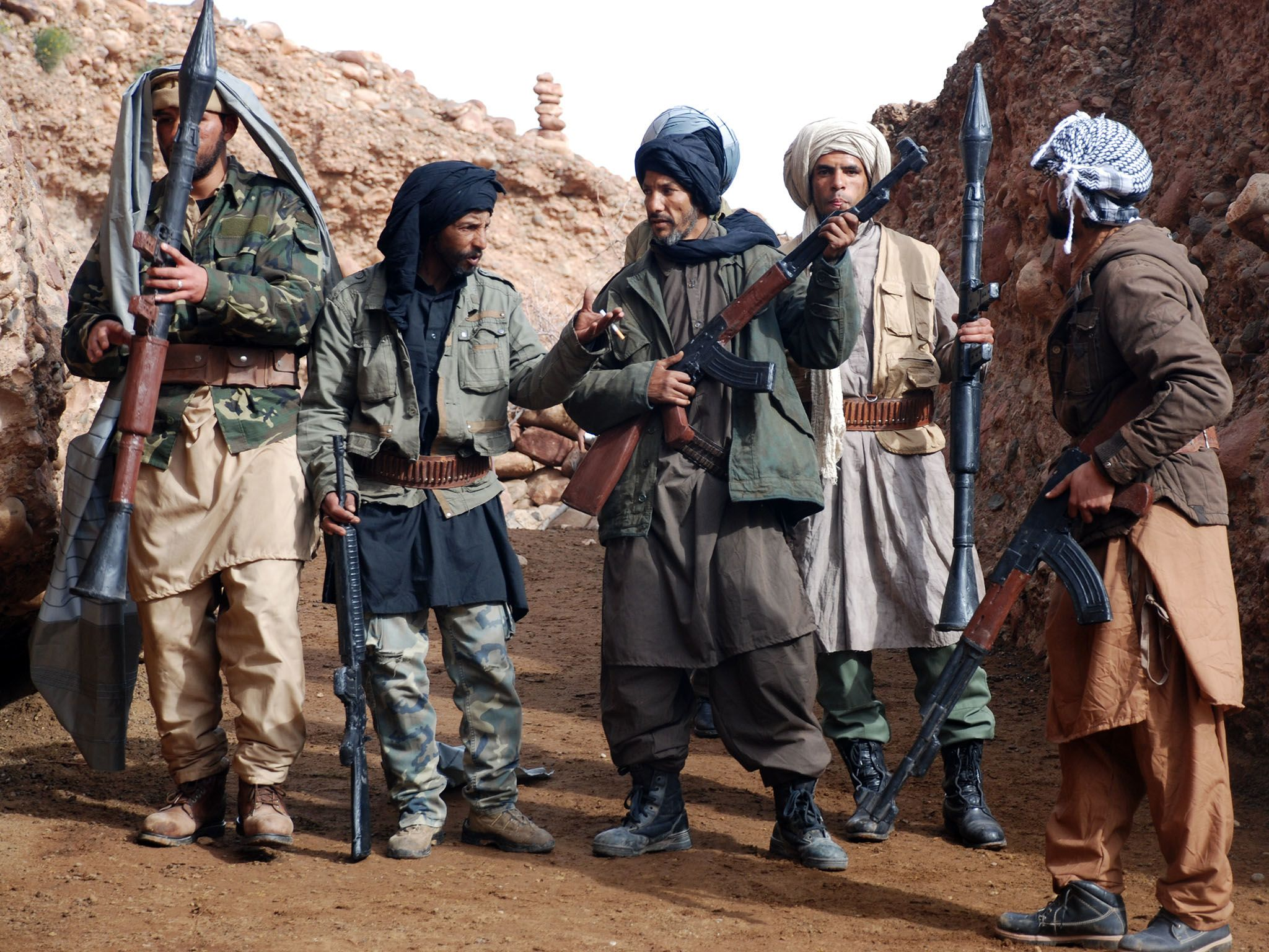 Ouazazate, Morocco:  (Re-enactment) Al Qaeda fighters in the caves of Tora Bora. This image is... [Photo of the day - November 2016]