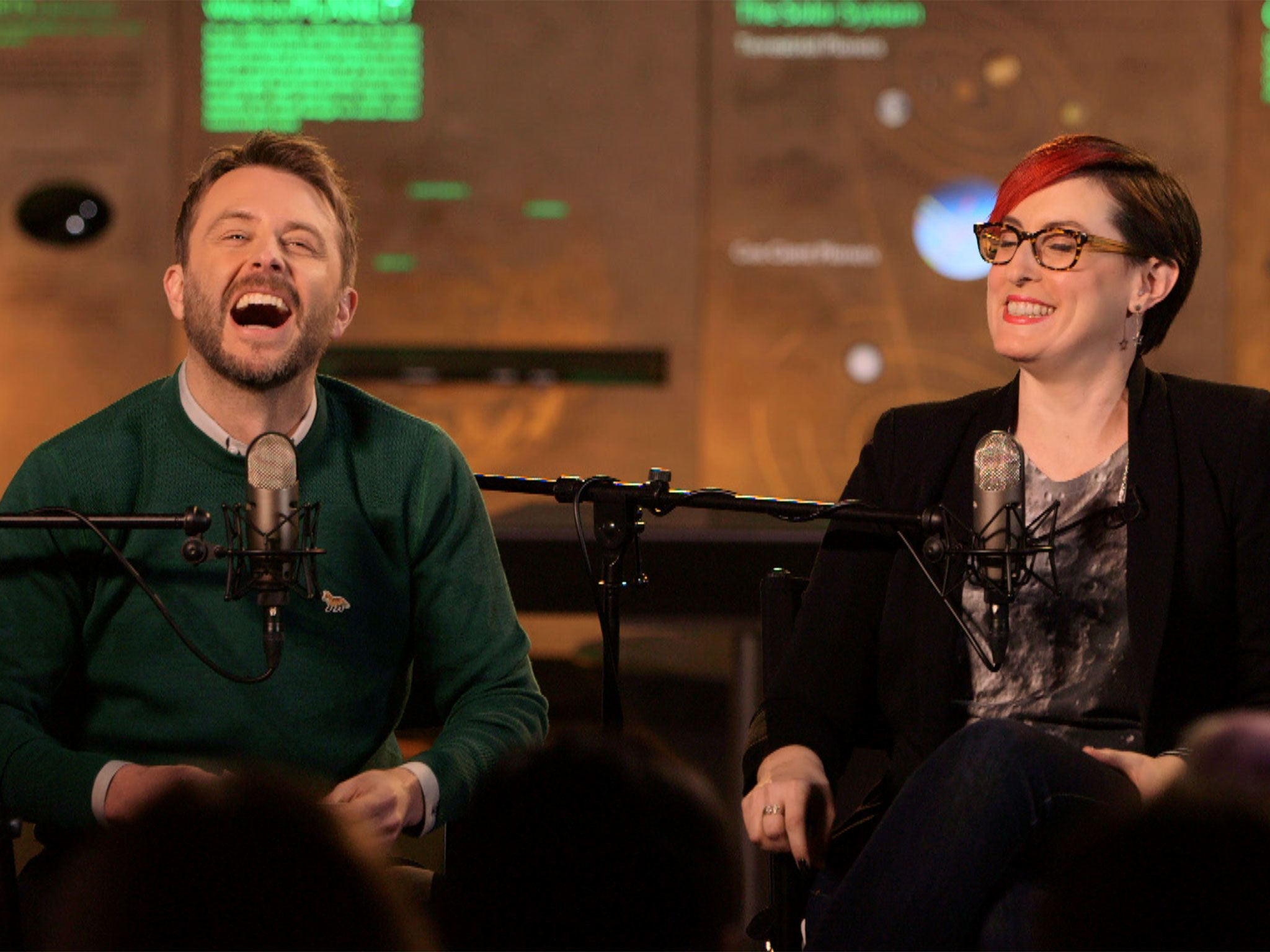 New York, N.Y.- Comedian co-host Chris Hardwick and guest Summer Ash on set in the American... [Photo of the day - December 2016]