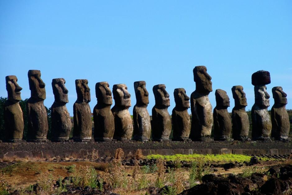 Giant moai statues on ahu platform on Easter Island. This image is from Beneath Easter Island .  [Dagens foto - februari 2012]