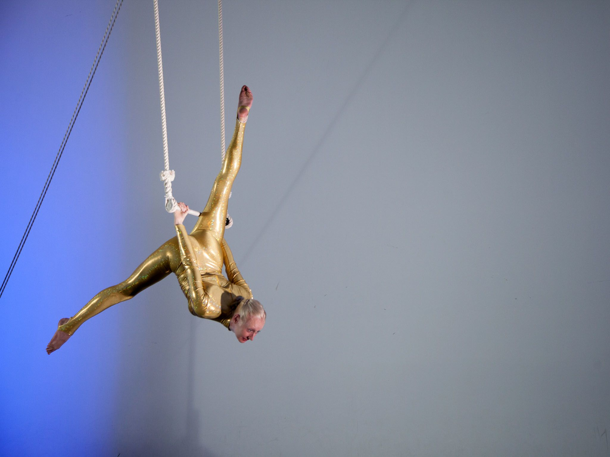Katie Hardwick shows how a trapeze artist utilizes pendulum motion.