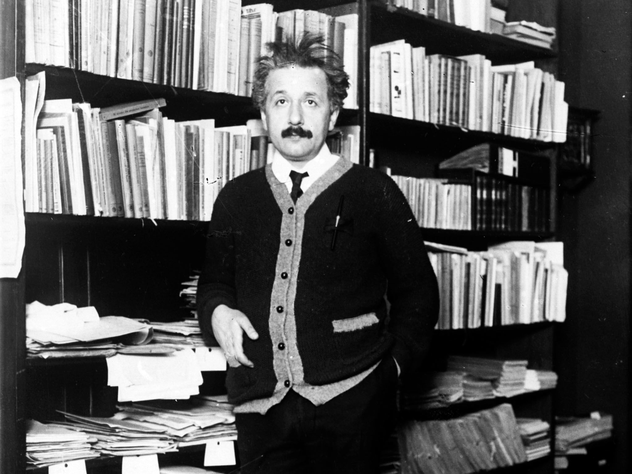 Circa 1925:  Professor Albert Einstein (1879 - 1955), mathematical physicist at home. This image... [Photo of the day - April 2017]