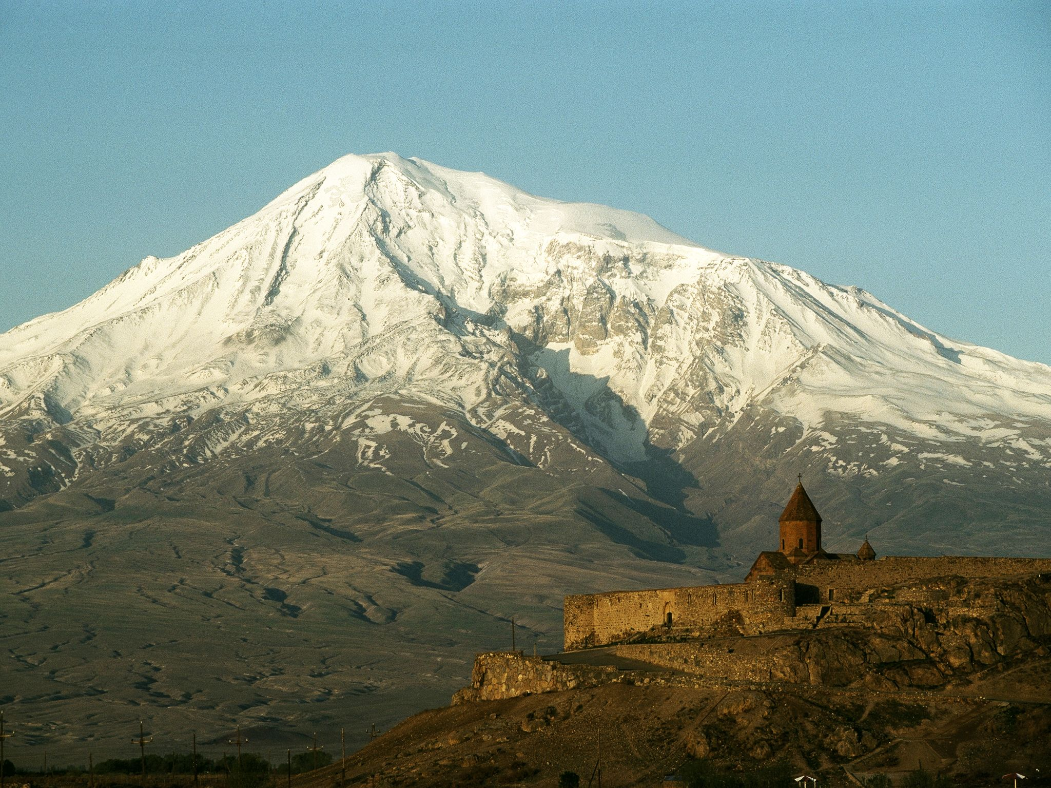 Mount Ararat, Turkey, viewed from Khor Viraph. This image is from Riddles of the Bible. [Photo of the day - August 2017]