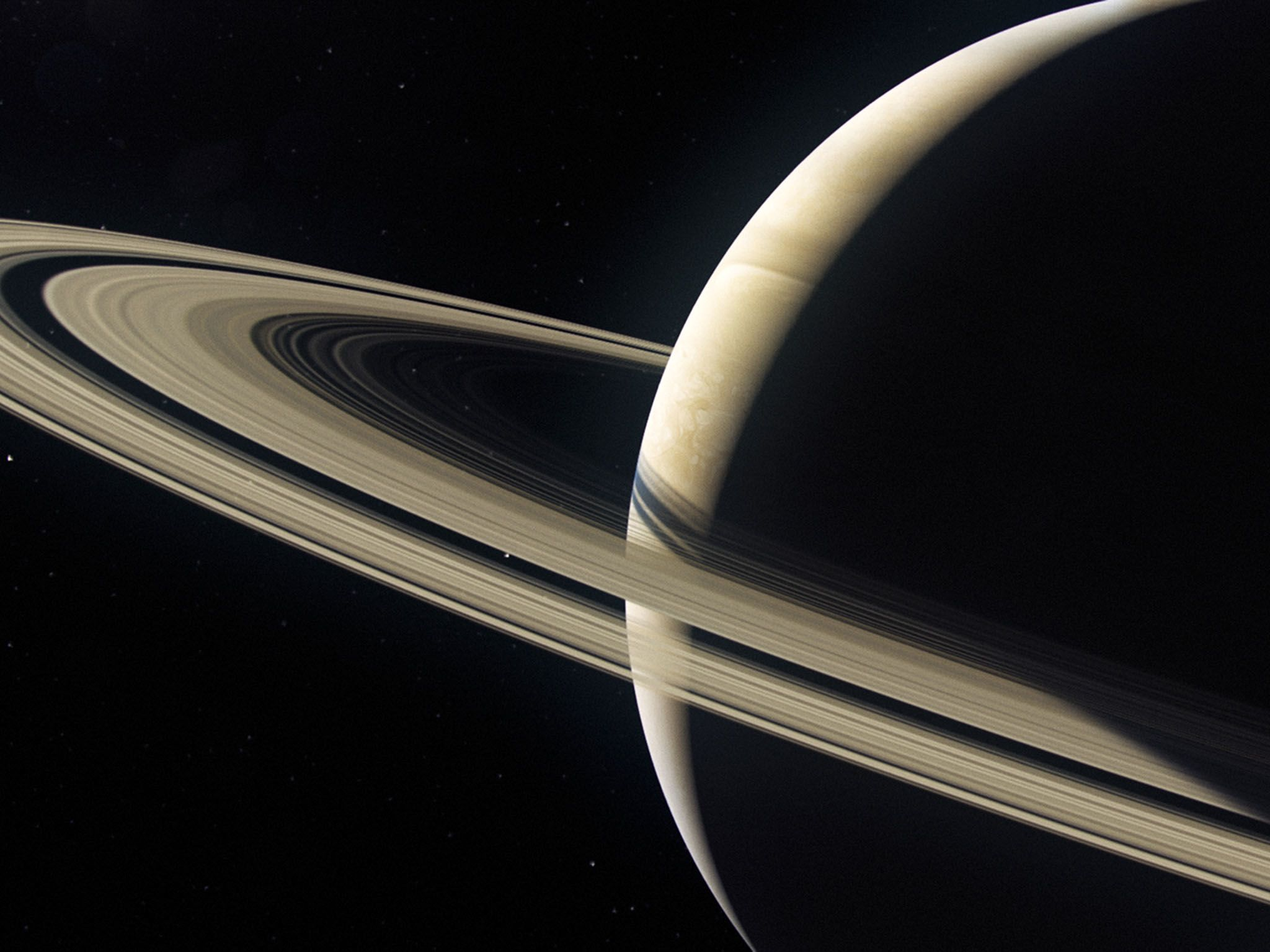 Saturn: CGI of a backlit and beautiful Saturn planet with its rings. Saturn is the 6th planet... [Photo of the day - September 2017]