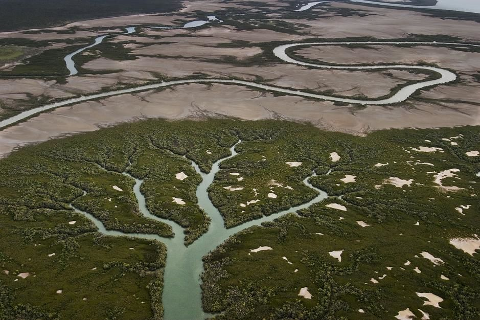 An aerial view of a river and tributary streams in Northern Terriotory. [Foto do dia - Agosto 2011]