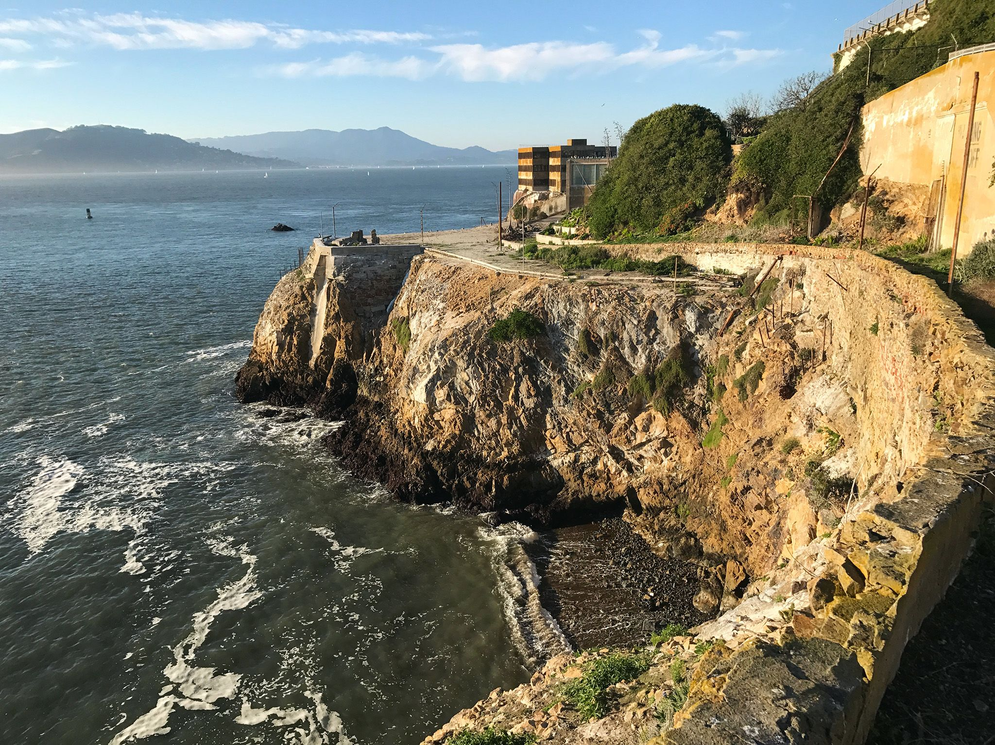 California:  Cliffs on the western side of Alcatraz Island. This image is from Drain Alcatraz. [Photo of the day - December 2017]