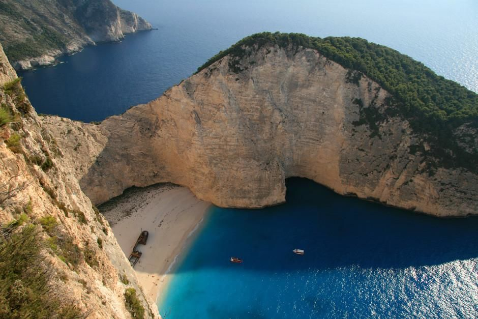 Zakynthos, Greece: The spectacular view of Zakynthos&#039; blue waters and hidden beach at Shipwreck B... [Photo of the day - March, 2012]