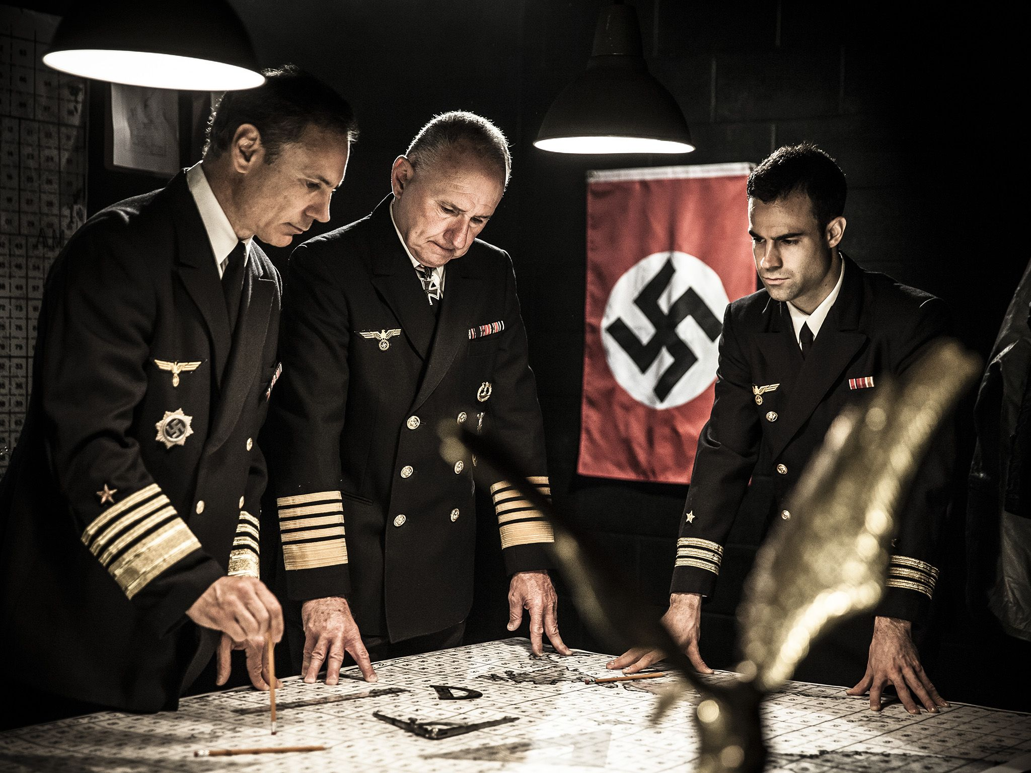 German officers planning their next move at HQ. Dramatic Recreation. (L-R) Apaul Snider, Lloyed... [Photo of the day - May 2018]