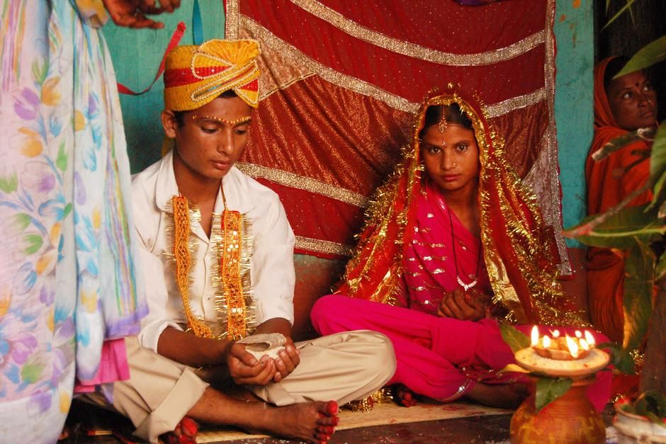 Birgunj, Nepal: As teenagers, this bride and groom will now be officially married. Marriage is li... [  -  2012]