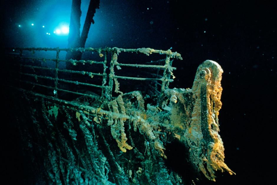 Titanic&#039;s bow and railing. 100 years ago today, the Titanic set sail on her maiden voyage.