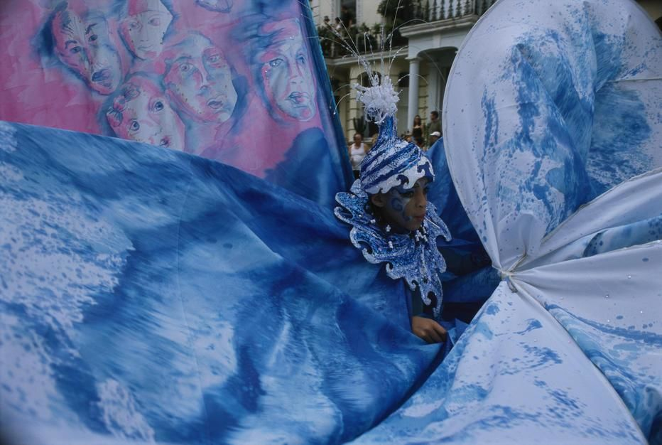 Today Europe's largest street carniva takes place. Here an eleaborate costume forms a swirling tu... [Photo of the day - augusti 2011]